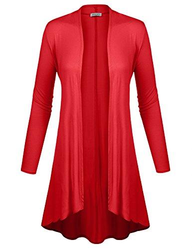 Very Light Jersey Cardigan - BIADANI Women Long Sleeve Classic Lightweight Open Front Jersey Cardigan Red XX-Large