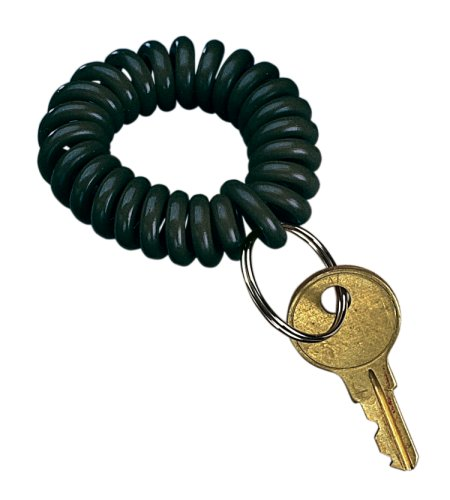 (PM Company SecurIT Wrist Key Coil with Steel Key Ring, Black, 48/Carton (04995))