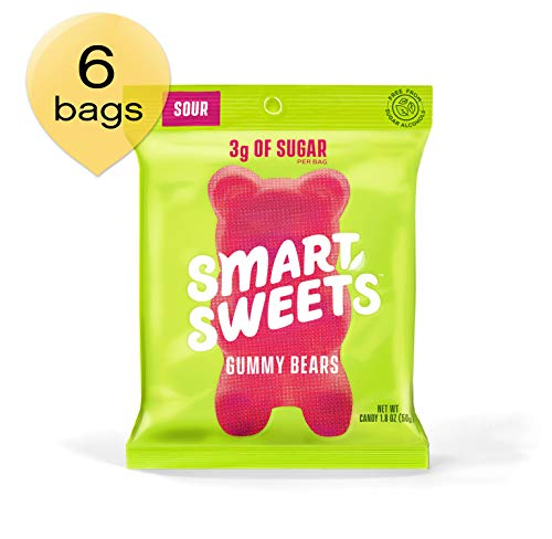 SmartSweets Low Sugar Gummy Bears Candy, Seriously Sour 1.8 oz bags (box of 6), Free of Sugar Alcohols & No Artificial Sweeteners, Sweetened with Stevia, Natural Fruit -