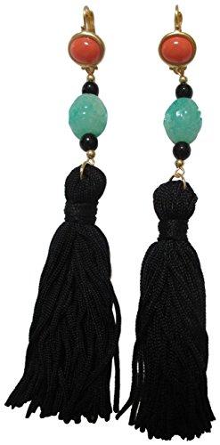 Kenneth Jay Lane Black Tassel Orange Green Long Dangle Drop Earrings 8821ECJBP