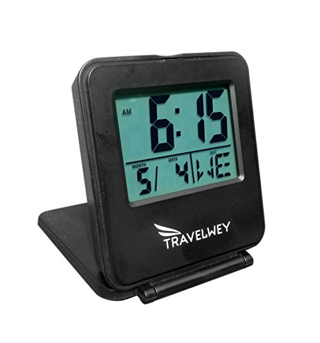 Travelwey Digital Travel Alarm Clock - 12/24 Hour, Date, Snooze, Light, Black
