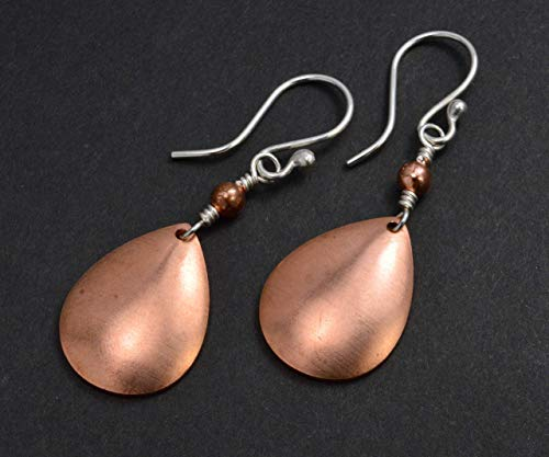(Handmade Sterling Silver & Copper Dangle Earrings - Gifts For Her - Handcrafted In Sitka)