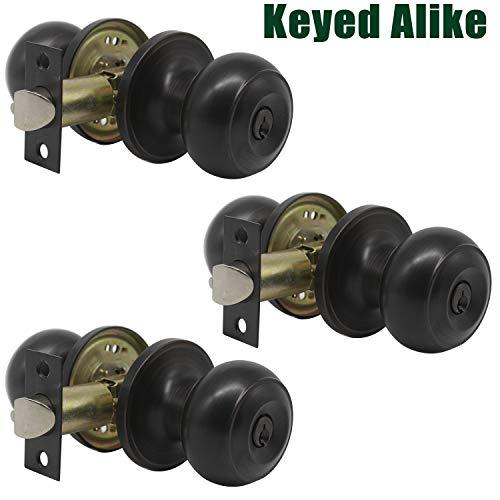 - Probrico Oil Rubbed Bronze Door Lock Handles Keyed Alike Entry Entrance Round Shape Door Knobs Lockset (3 Pack)