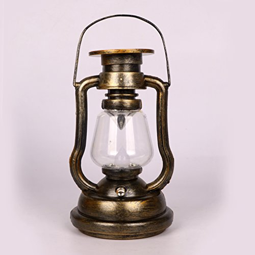 Vintage Hanging LED Lantern Yellow Led Flameless Candle Lights Portable Outdoor Tent Lamp for Hiking, Emergencies, Hurricane,Storms by Youngerbaby Gold Hurricane Lamp