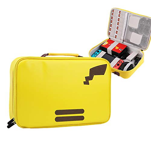 Uyuni Carrying Bag for Nintendo Switch, Leatherette Large Capacity Protective Hand Case Travel Carry Pouch Compatible with Nintendo Switch Console Accessories 10 Game Card Slots Yellow ()