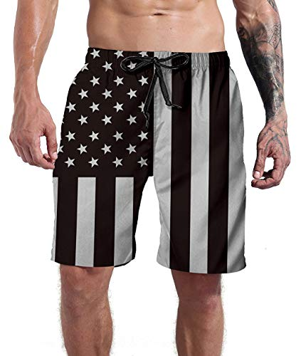 (Goodstoworld Men's Swim Trunks Outdoor Recreation Cool 3D Stripe USA Pants Black White Star Stripe Beach Pool Board Shorts with Lining XL)