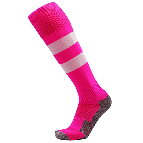 Girl Football Player Costumes (Nachvorn Youth Children Cotton Knee Long Team Socks - Boys Girls Sport Socks for Football, Basketball, Soccer, Rugby, Running, One Pair,170443-Pink-S)