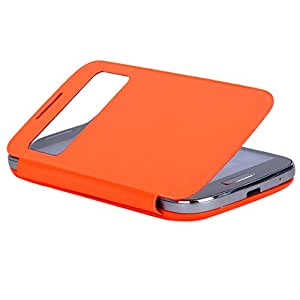 Etiger Smart Cover Case for Samsung Galaxy S4 Mini S View Protective Cases+Stylus Pen +Screen Protector With Sleep Function (Orange)