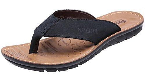 Vocni Heren Leer Casual Outdoor Comfort Slippers Zomer Schoenen Voor Heren Sandalen Zwart