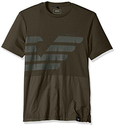 ARMANI JEANS Men's Mixed Media Tonal Eagle Tshirt, Dark Green, Large - Green Mens Armani T-shirts