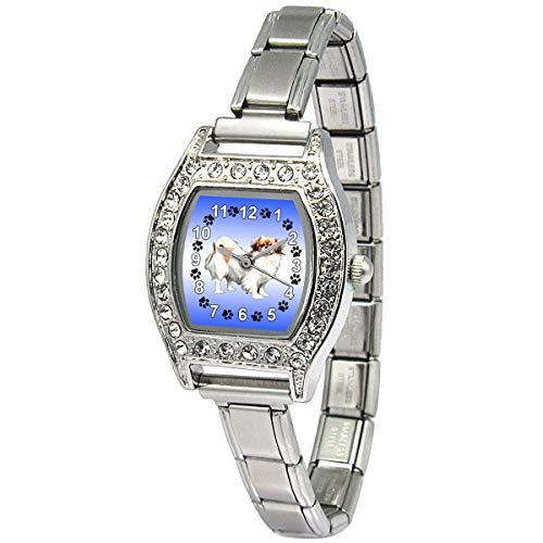 (Timest - Tibetan Spaniel - Womens Stainless Steel Italian Charms Bracelet Watch BJ1143)