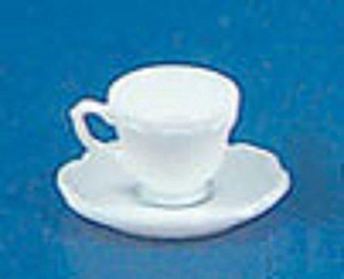 Dollhouse Miniature Chrysnbon Single Tea Cup with Saucer in White
