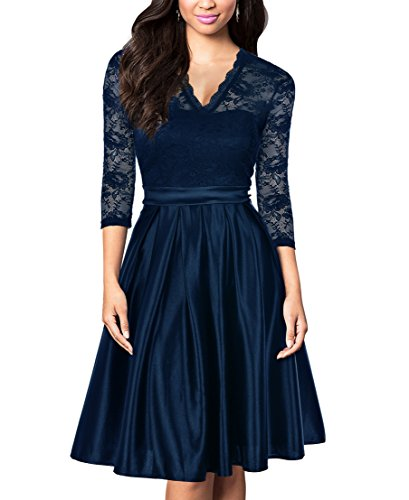 blue a line dress with sleeves - 4