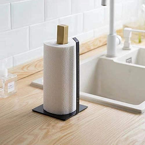 One Handed Tear Silver Paper Towel Holder For Kitchen Countertop Vertical