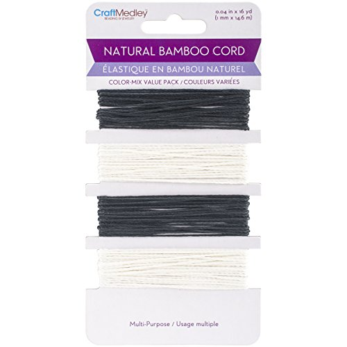 Multicraft Imports BC820-B Bamboo Cord 48 ft. - B & W - 48' Cherry Top