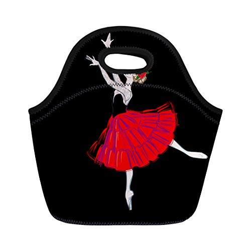 Semtomn Neoprene Lunch Tote Bag the Portrait of Ballerina in Puff Skirt Costume Reusable Cooler Bags Insulated Thermal Picnic Handbag for Travel,School,Outdoors,Work ()