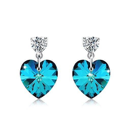 Meidiya 925 Sterling Silver Blue Love Heart Shaped Stud Earrings With Swarovski Crystal Elements For Girls  Blue