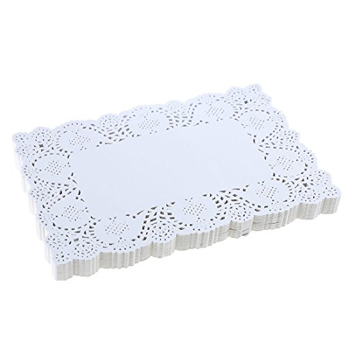 DECORA 9X6.5 Inch Rectangle White Paper Doilies for Birthday Party Wedding Tableware Decoration,Pack of 200 ()