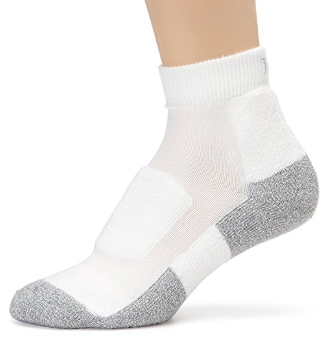 Women's Lite Walking Thin Padded Ankle Socks (Medium/10 Ladies 7-9, 3 Pack - White/Platinum)