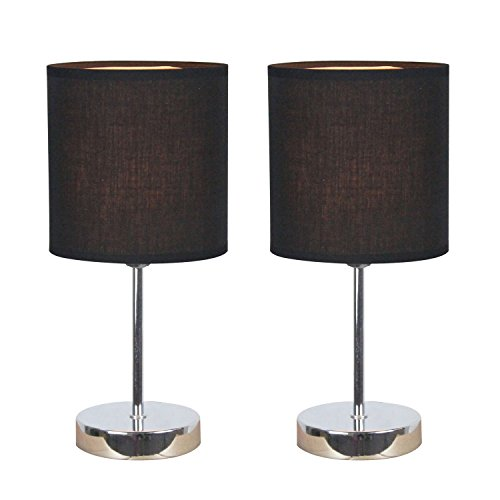 Simple Designs LT2007-BLK-2PK Chrome Mini Basic Table Lamp 2 Pack Set with Fabric Shades, Black