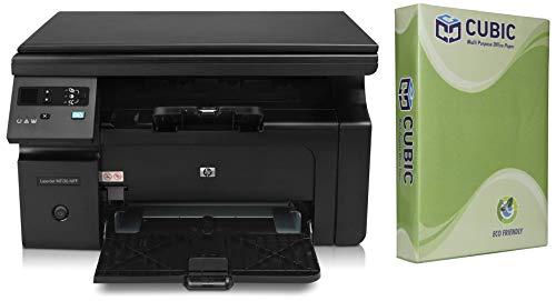 HP Laserjet Pro M1136 Multifunction Monochrome Laser Printer  Black  with Cubic A4 70gsm Copier Paper   500 Sheets, Pack of 3