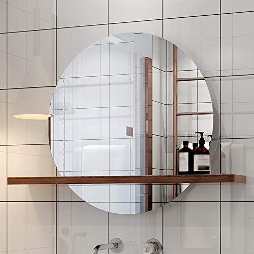 L-KCBTY Modern Bathroom Mirrors,Round Wall Mirror-with Solid Wood Shelf,Explosion-Proof Decorative Makeup Mirror,Various -
