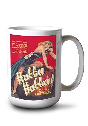 - Lantern Press Hubba Hubba - Pinup Girl Vegetable - Vintage Crate Label (15oz White Ceramic Mug)