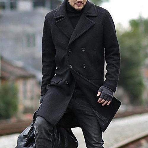 2020 Nuovi Uomini Misto Lana Cappotti Autunno Inverno Caldo Tinta Unita Uomo S Giacca Lunga E Cappotto Abbigliamento Lussuoso-Grigio_Size_3Xl