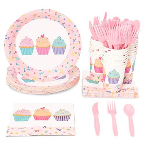 Cupcake Party Plates (Blue Panda Pink Cupcakes Birthday Party Supplies - Plates, Knives, Spoons, Forks, Napkins, and Cups, Serves)