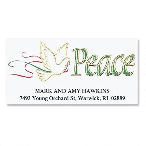 Dove of Peace Foil Deluxe Address Labels - Self-Adhesive, Flat-Sheet Return Labels, 1 1/8 x 2 1/4 Set of 144