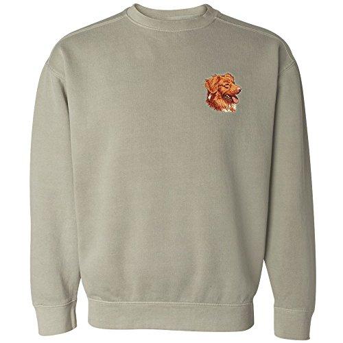 Cherrybrook Dog Breed Embroidered Mens Crew Sweatshirts - X-Large - Sandstone - Nova Scotia Duck Tolling (Retriever Embroidered Sweatshirt)