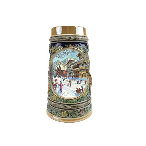 """Winter In Germany"" Essence of Europe Gifts E.H.G. Collectible Ceramic Beer Stein (#1 in Collection of Four Steins)"