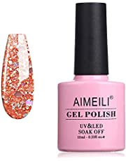 AIMEILI Soak Off UV LED Gel Nail Polish - Diamond Glitter Pinch of Peach (047) 10ml