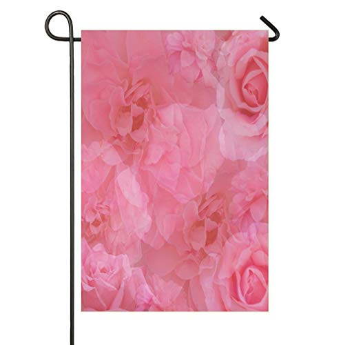 (HOOSUNFlagrbfa Stylish Vintage Pink Rose Medley Garden Flag Decorative Holiday Hat House Flag for Festival Party Supplies Creative Decoration)