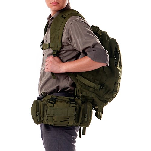 HDE Heavy-Duty 30L Outdoor Military Tactical Backpack + Modular Deployment Utility Bag (Army Green)