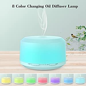 BAXIA TECHNOLOGY 450ml Essential Oil Diffuser 2 Pack, Aromatherapy Diffusers for Essential Oils Ultrasonic Humidifier with 4 Timer Settings Mist, 8 LED Color Night Light and Cool Mist Auto Shut-off