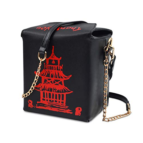 Fashion Crossbody Shoulder Bag, i5 Chinese Takeout Box Purse with Comfortable Chain Strap (black-red) (Red And Black Cross Purse)