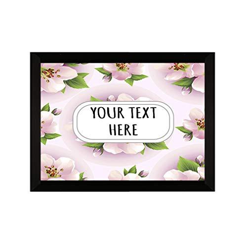 "Wood Wall Plaque Sign Beige Orchid Flower Seemless Pattern Decor Wall Art -7""x5"""