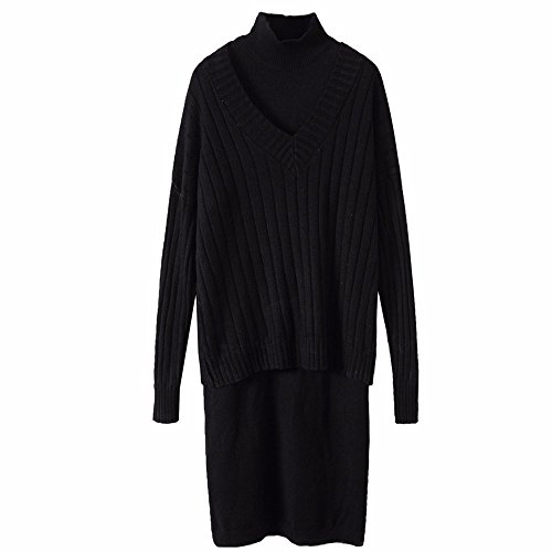 V Robe En Robe Black Mince amp;QIUMEI Fourchues OME Col Femme Lache wgItqAc5