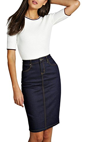 Womens Pull on Stretch Denim Skirt SKS22880 INDIGO 12 (Denim Skirt Bleach Stretch)