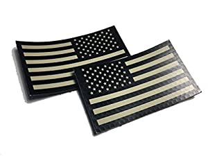 "2 PACK Set - 2"" x 3.5"" Black and Tan (FORWARD and REVERSED) Us Ir Infrared USA Flag Military Morale Reflective Patch (EMPIRE TACTICAL - USA)"