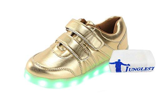 [Present:small towel]JUNGLEST® Unisex Kids USB Charging LED Luminous Hook-and-Loop Straps Sports Shoes C7 JIIFH8uh