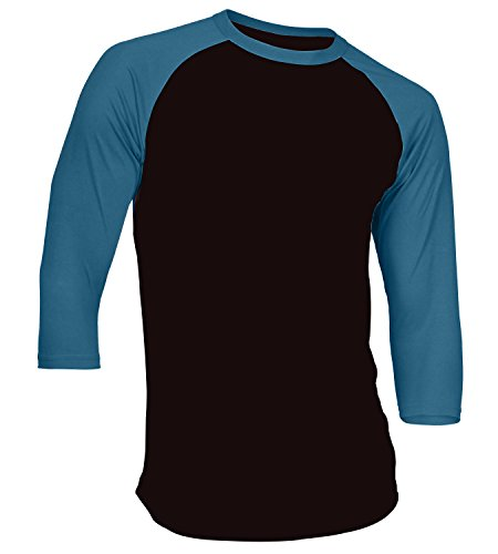 3/4 Sleeve Baseball Sports T-Shirt Raglan Shirt S-XL Team Jersey Black Blue 2XL ()