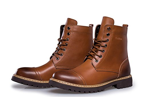 TDA Mens Modern Warm High Top Leather Combat Martin Boots Brown 1724o3jfy