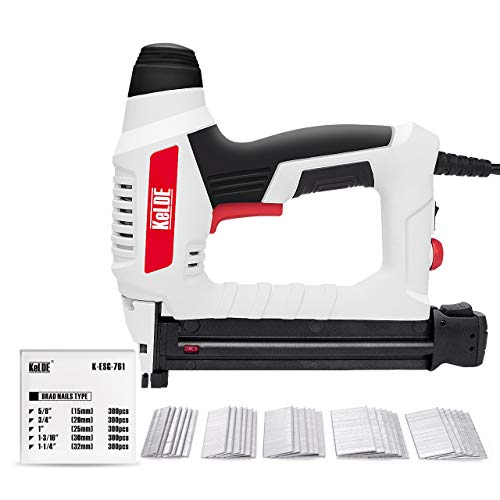 Electric Nail Gun Kit, KeLDE 120V Power Brad Nailer with Adjustable Power Knob, Includes 1500pc Brad Nails, 15/20/25/30/32mm