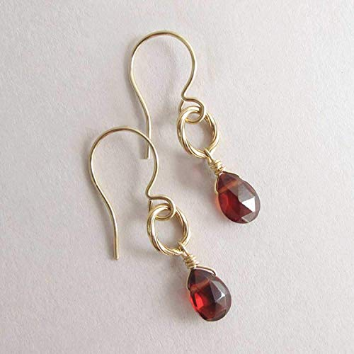 (Petite Genuine Garnet Gemstone Dangle Drop Earrings, January Birthstone + 14k Gold Filled)