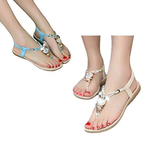 Damen Sandalen, SHOBDW Frauen Strass Eule Süße Sandalen Clip Toe Sandalen Strand Schuhe Beige