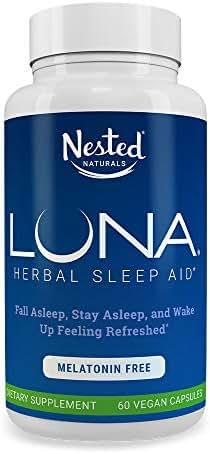 LUNA Melatonin-Free   60 Capsules   Naturally Sourced Sleep Aid Without Melatonin   Valerian, Chamomile Extract, Lemon Balm, Herbs & More   Gentle Herbal Sleeping Aid Pill   Vegan, Non-GMO Supplement