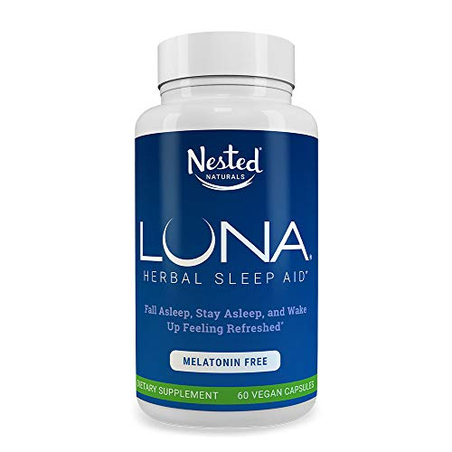 LUNA Melatonin-Free | 60 Capsules | Naturally Sourced Sleep Aid Without Melatonin | Valerian, Chamomile Extract, Lemon Balm, Herbs & More | Gentle Herbal Sleeping Aid Pill | Vegan, Non-GMO Supplement