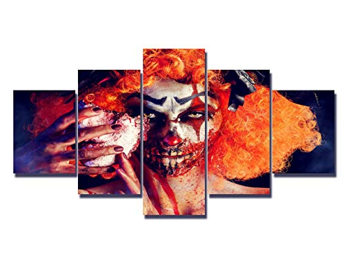 Skull Pictures for Wall 5 Panel Canvas Wall Art Dia De Los Muertos Paintings Modern Artwork Home Decor for Living Room Giclee Wooden Framed Stretched Ready to Hang Posters and Prints(60''Wx32''H)